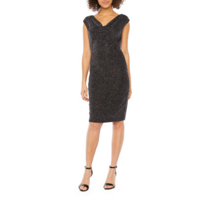 Jessica Howard Short Sleeve Glitter Knit Sheath Dress