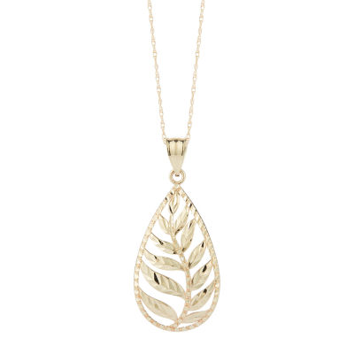 Womens 10K Gold Pear Pendant Necklace