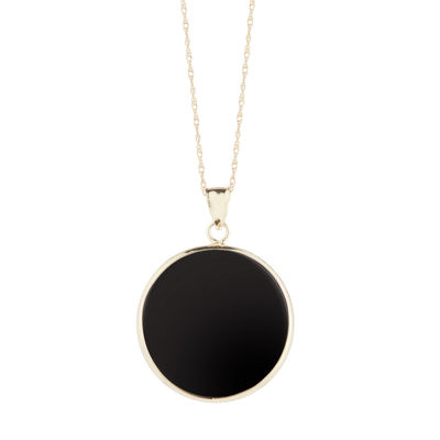 Womens Genuine Black Onyx 10K Gold Pendant Necklace