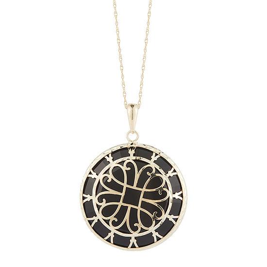 Womens Genuine Black Onyx 10k Gold Pendant Necklace