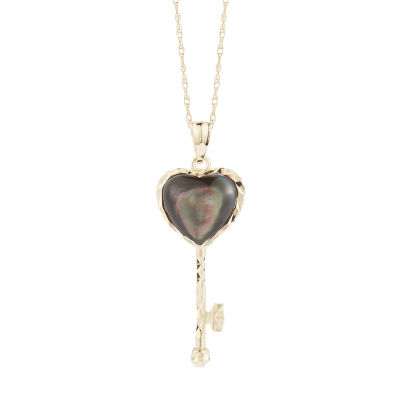 Womens Genuine Black Mother Of Pearl 10K Gold Heart Pendant Necklace