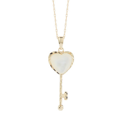 Womens Genuine White Mother Of Pearl 10K Gold Heart Pendant Necklace