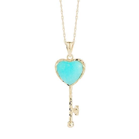 Womens Genuine Blue 10K Gold Heart Pendant Necklace