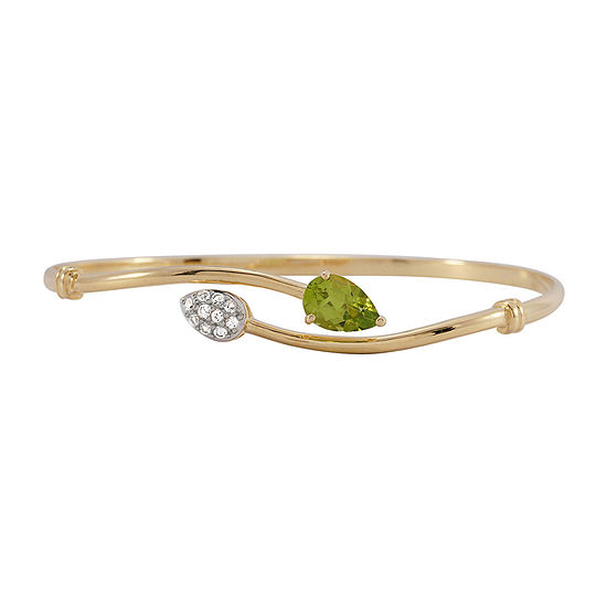 Genuine Peridot and Lab-Created White Sapphire Bangle Bracelet