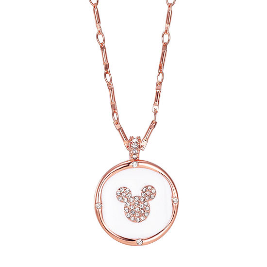 Crystal 16 Inch Cable Round Mickey Mouse Pendant Necklace