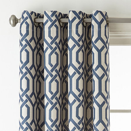 JCPenney Home Pasadena Blackout Grommet-Top Single Curtain Panel, One Size , Blue