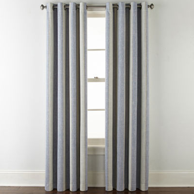 JCPenney Home Sullivan Stripe Bo Blackout Grommet-Top Curtain Panel