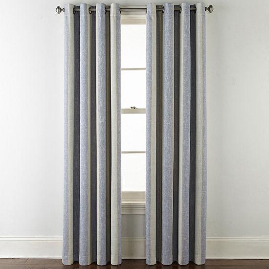 JCPenney Home Sullivan Stripe Blackout Grommet-Top Single Curtain Panel