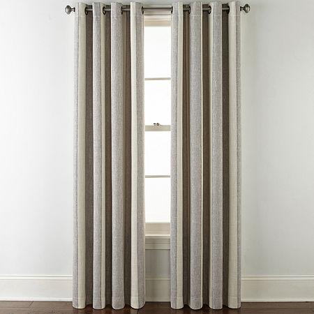JCPenney Home Sullivan Stripe Blackout Grommet-Top Single Curtain Panel, One Size , Gray