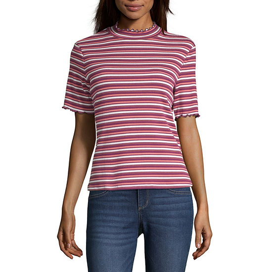 a.n.a Womens Short Sleeve Mock Neck Top