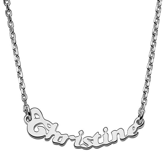 Personalized Womens Womens Sterling Silver Pendant Necklace