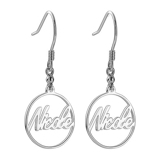Personalized Womens Sterling Silver Drop Earrings