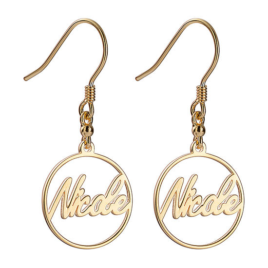 Personalized Womens 14K Gold Over Silver Drop Earrings