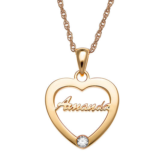 Personalized Womens Womens Multi Color Cubic Zirconia 14K Gold Over Silver Round Pendant Necklace