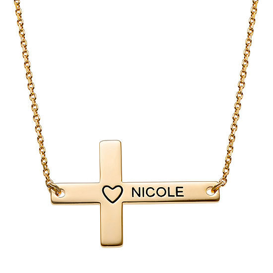 Personalized Womens 14K Gold Over Silver Pendant Necklace