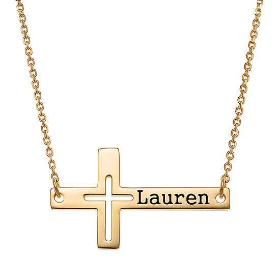 Personalized Womens Womens 14K Gold Over Silver Pendant Necklace