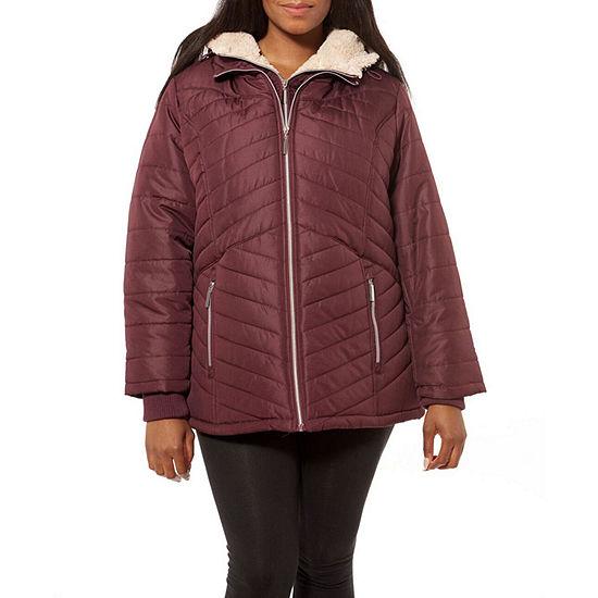 Details Microfiber Hooded Fleece Lined Midweight Puffer Jacket-Plus