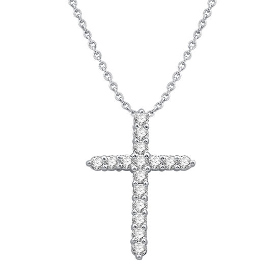 Ever Star Womens 1/2 CT. T.W. Lab Grown Diamond 10K White Gold Cross Pendant Necklace
