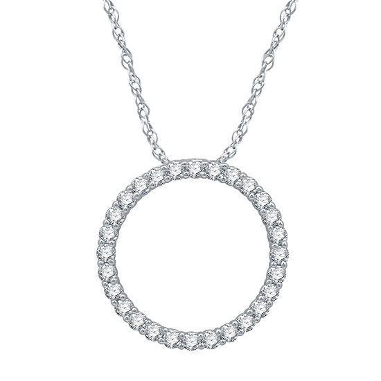 Ever Star Womens 1/2 CT. T.W. Lab Grown Diamond 10K White Gold Pendant Necklace