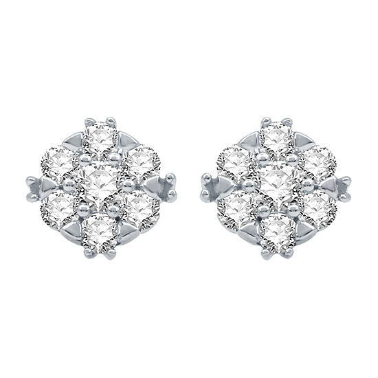 Ever Star 1/2 CT. T.W. Lab Grown Diamond 10K White Gold 8.2mm Stud Earrings