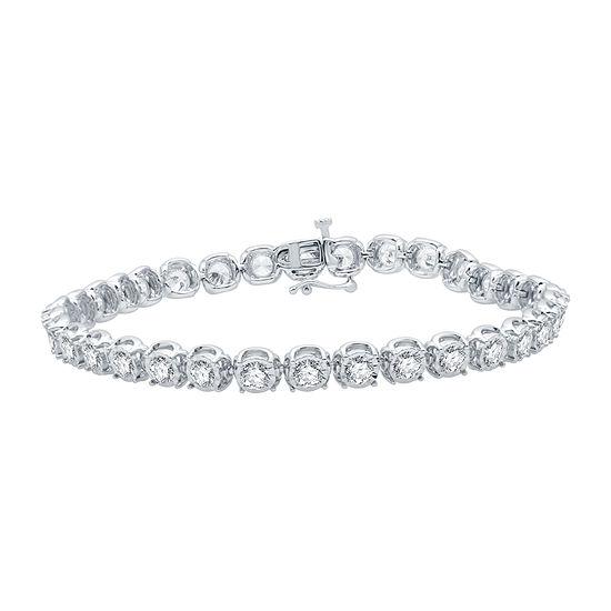 Ever Star 10K White Gold 7.5 Inch Solid Link Bracelet
