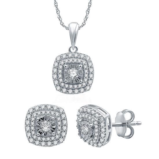 Ever Star 1 CT. T.W. Lab Grown Diamond 10K White Gold 2-pc. Jewelry Set
