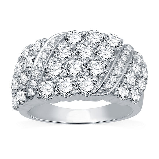 Ever Star Womens 3 CT. T.W. Lab Grown Diamond 10K White Gold Cocktail Ring