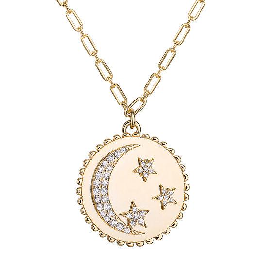 Diamonart Womens White Cubic Zirconia 14K Gold Over Silver Star Pendant Necklace