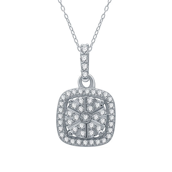 Ever Star Womens 1/4 CT. T.W. Lab Grown Diamond Sterling Silver Pendant Necklace