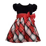 Bonnie Jean Christmas Girls Short Sleeve Party Dress - Toddler