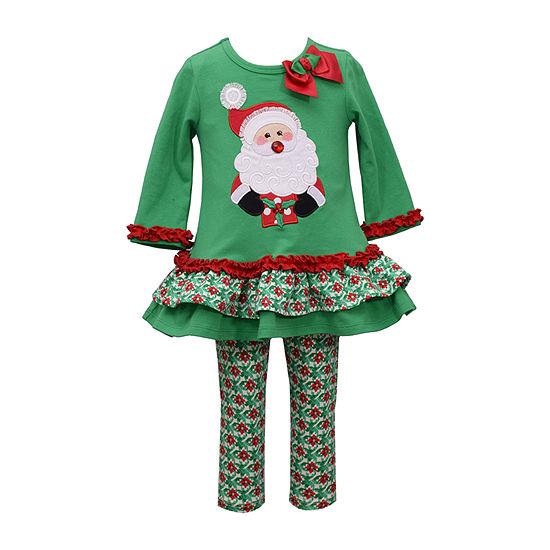 Bonnie Jean Christmas Girls 2-pc. Legging Set-Toddler