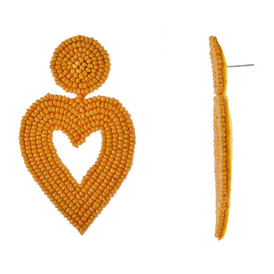 Bijoux Bar Orange Heart Drop Earrings