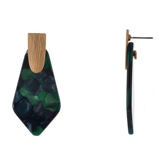 Bijoux Bar Resin Green Drop Earrings