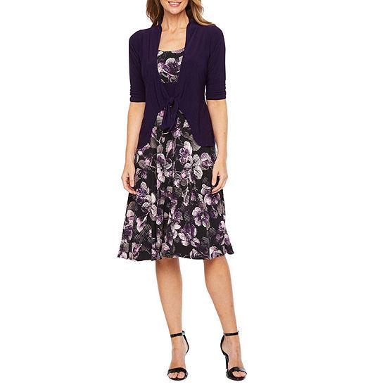 Perceptions 3/4 Sleeve Tie Front Jacket Dress