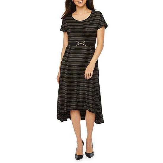 Robbie Bee Short Sleeve Striped Midi Fit & Flare Dress