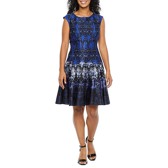 Danny & Nicole-Petite Sleeveless Medallion Midi Fit & Flare Dress