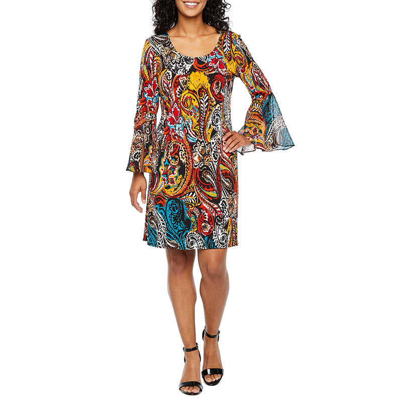 70s Dresses – Disco Dress, Hippie Dress, Wrap Dress Petite MSK 34 Sleeve Paisley Shift Dress-Petite Womens Size Petite Large Black $27.74 AT vintagedancer.com