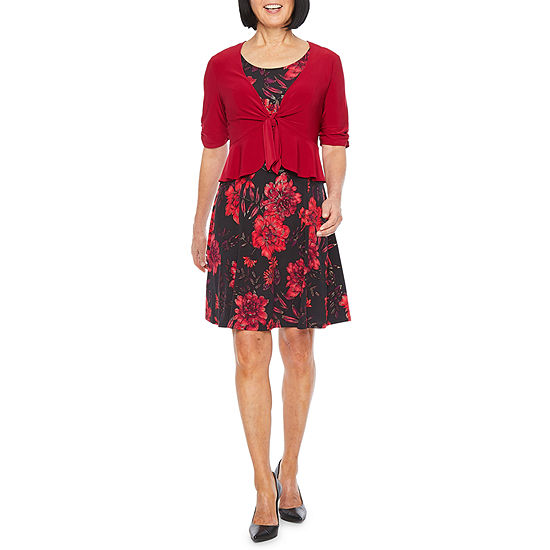 Perceptions 3/4 Sleeve Floral Jacket Dress-Petite