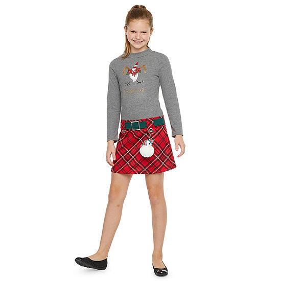 Lilt Girls Long Sleeve Drop Waist Dress - Preschool / Big Kid