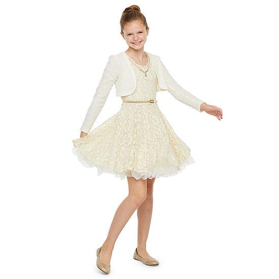 Knit Works Girls Sleeveless Jacket Skater Dress - Big Kid
