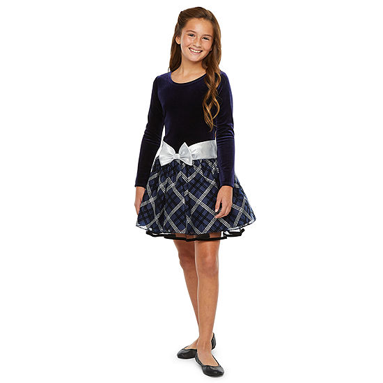 Bonnie Jean Girls Long Sleeve Drop Waist Dress - Preschool / Big Kid
