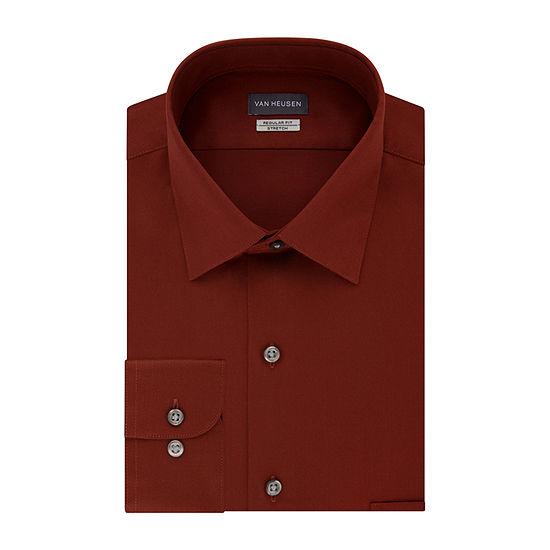 Van Heusen Mens Spread Collar Long Sleeve Wrinkle Free Stretch Dress Shirt