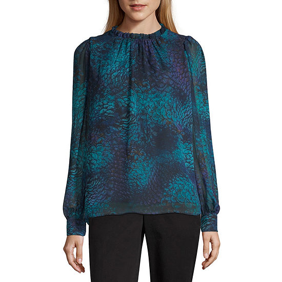 Worthington Womens Ruffle High Neck Volume Sleeve Blouse