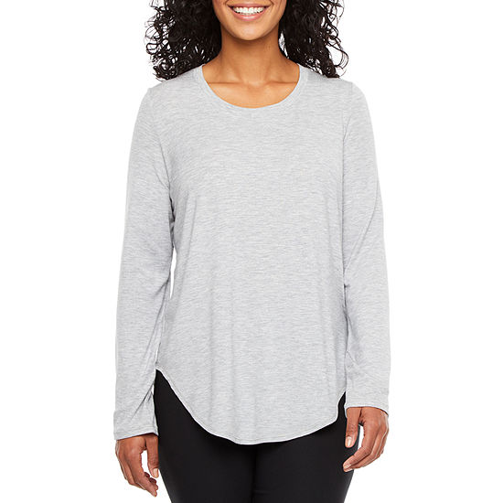 Xersion Petite-Womens Crew Neck Long Sleeve T-Shirt