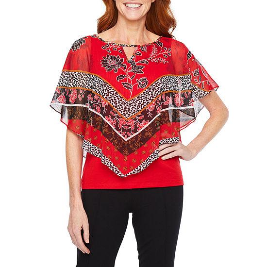 Hearts Of Palm Ru De La Ruby Womens Keyhole Neck Elbow Sleeve Embellished Blouse