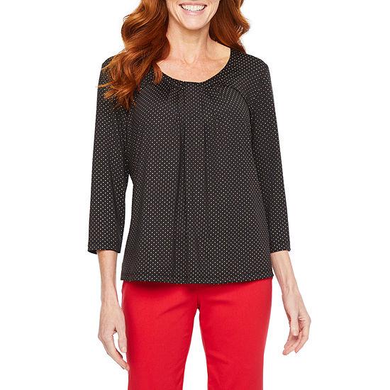 Hearts Of Palm Ru De La Ruby-Womens Scoop Neck 3/4 Sleeve T-Shirt