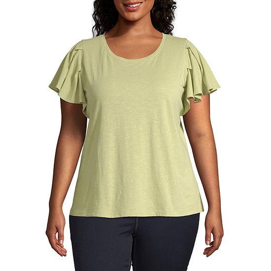 a.n.a-Plus Womens Short Flutter Sleeve T-Shirt