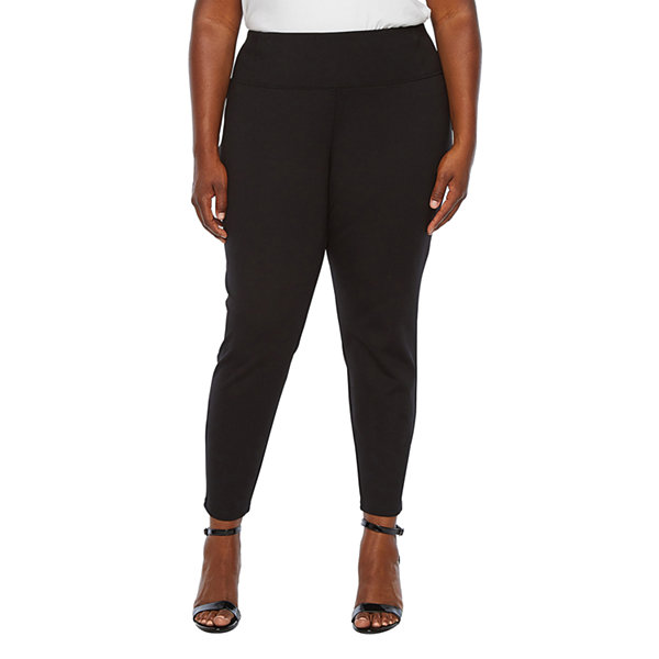Worthington Womens Ponte Straight Pull-On Pants-Plus