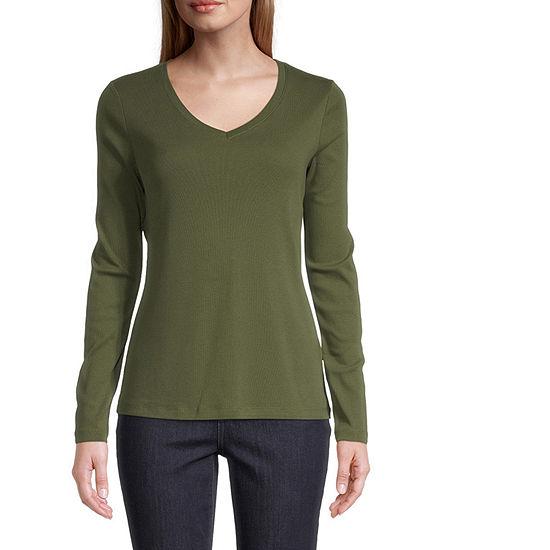 St. John's Bay-Womens Scoop Neck Long Sleeve T-Shirt