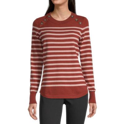Liz Claiborne Womens Crew Neck Pullover Sweater